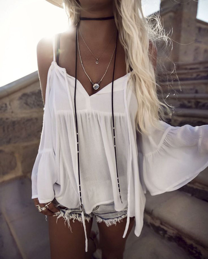 Black Leather Wrap Choker Necklace at MyBodiArt.com - Bohemian White Lace Pattern Boho Style Fringe Shirt Outfit Ideas