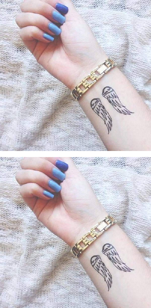 Meaningful Small Wrist Tattoo Ideas for Girls for Women  - Minimal Angel Wing Arm Tatouage - Ideas Del Tatuaje - www.MyBodiArt.com