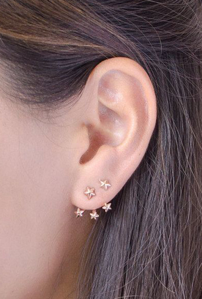 Simple Star Earrings - Starburst Ear Jacket - Unique Ear Piercing Ideas at MyBodiArt.com