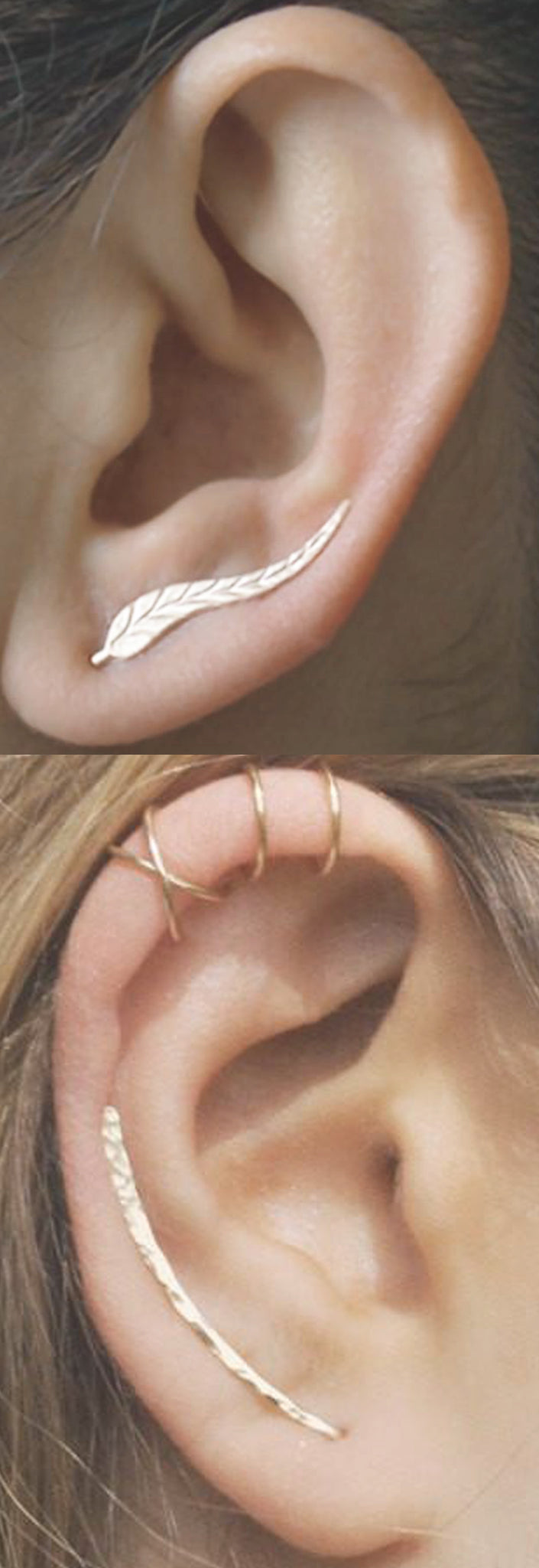 Classy Gold Simple Ear Piercing Ideas at MyBodiArt.com - Hammered Metal Leaf Ear Climber Earring - Cartilage Ring Cuffs