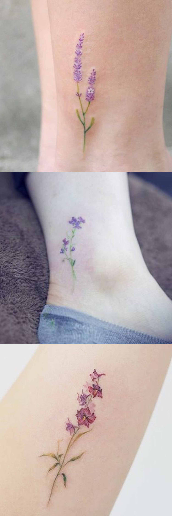 Delicate Small Minimalist Floral Flower Ankle Leg Arm Tattoo Ideas for Women at MyBodiArt.com