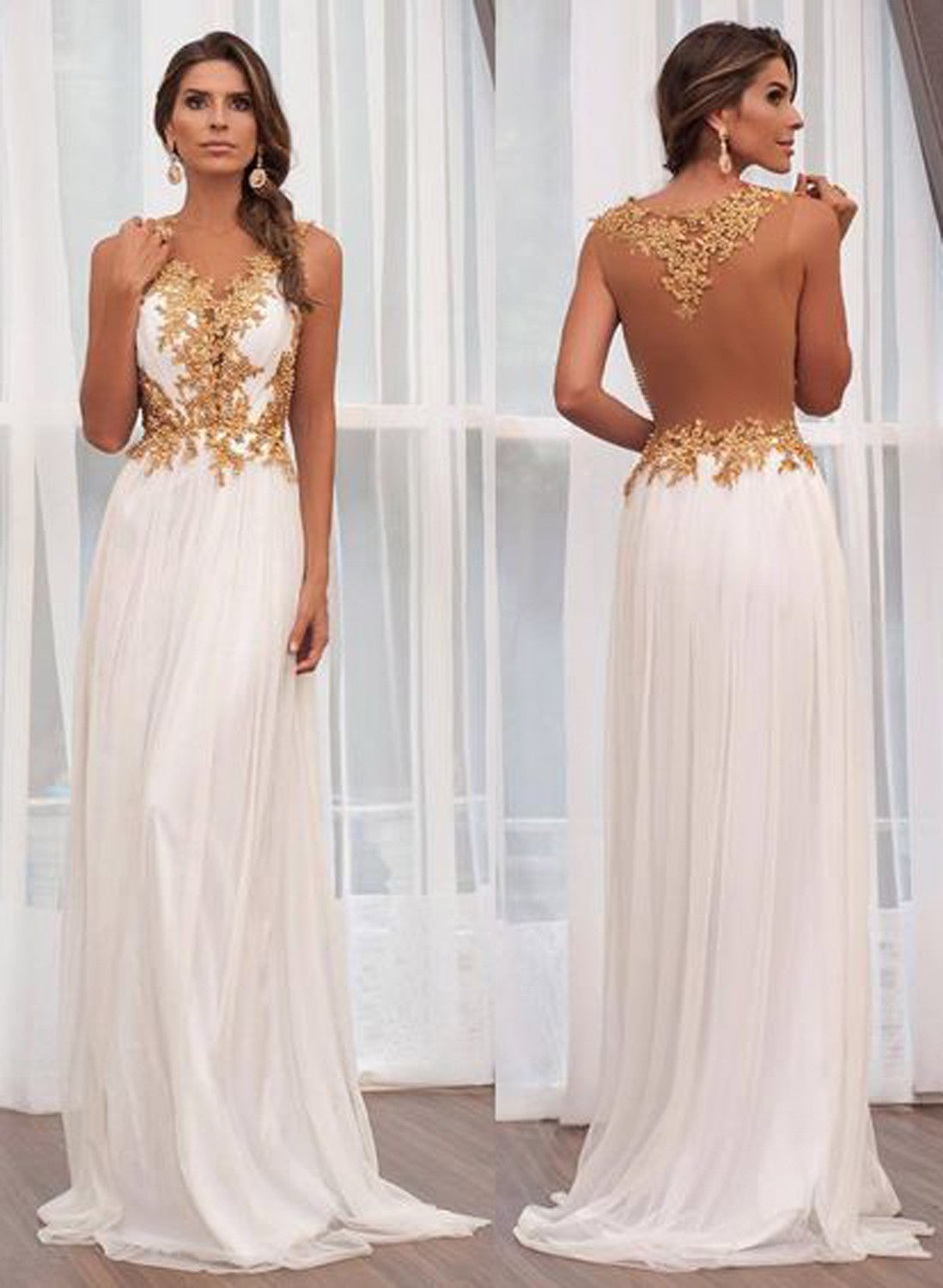 Illusion Long Maxi Prom Dress Gold White Floral Flower Lace  - MyBodiArt.com