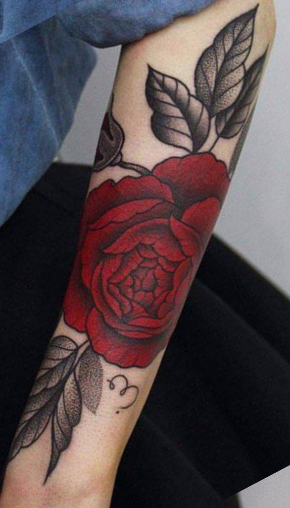 Watercolor Red Rose Arm Sleeve Tattoo Ideas for Women - www.MyBodiArt.com