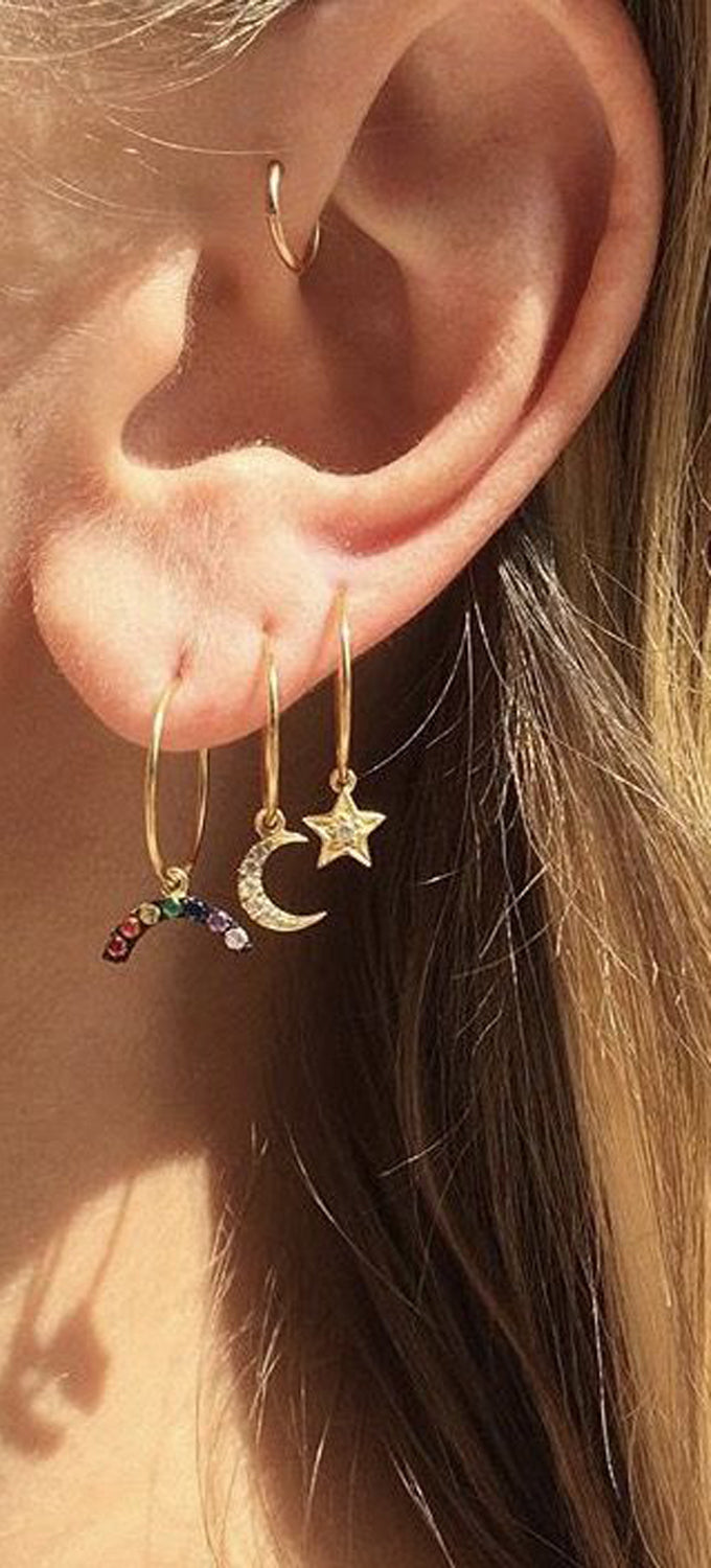 Dainty Small Cute Ear Piercing Ideas at MyBodiArt.com - Gold Stars Moon Rainbow Earrings - Forward Helix Hoop - Tragus Cartilage Helix Rook Diath