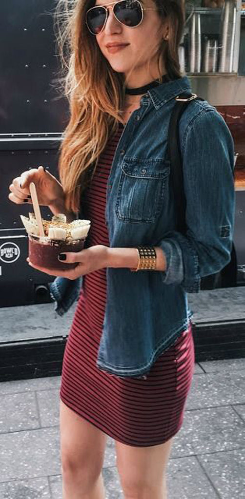 Black Velvet Choker Necklace Outfit Ideas - Jean Denim Jacket at MyBodiArt.com