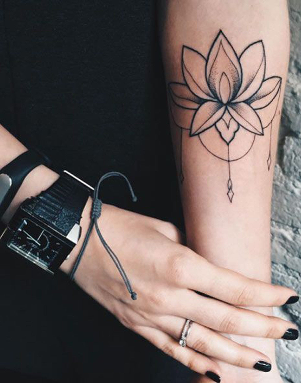 Lotus Flower Wrist Tattoo Ideas for Women - Black Chandelier Lace Arm Tat MyBodiArt.com