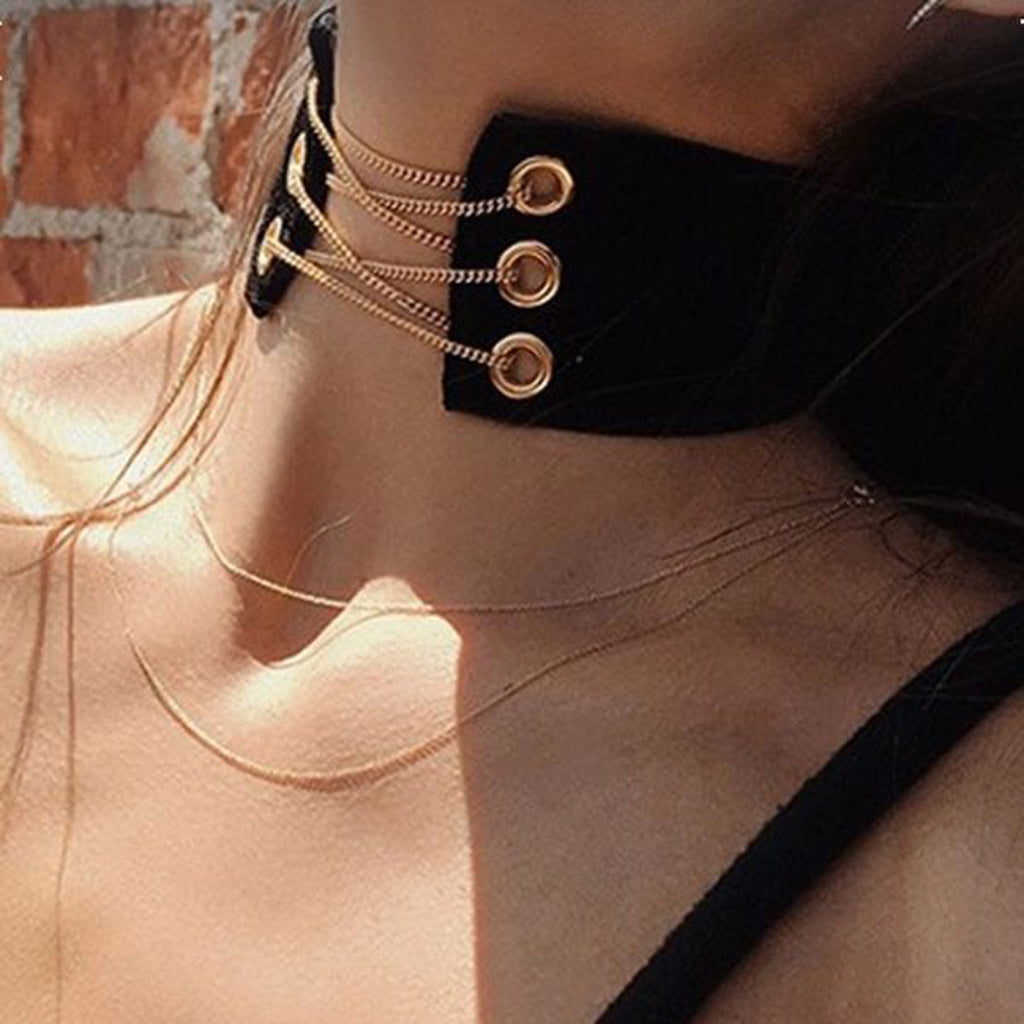 Gold Corset Choker Black Velvet Necklace at MyBodiArt.com - Jewelry & Accessories