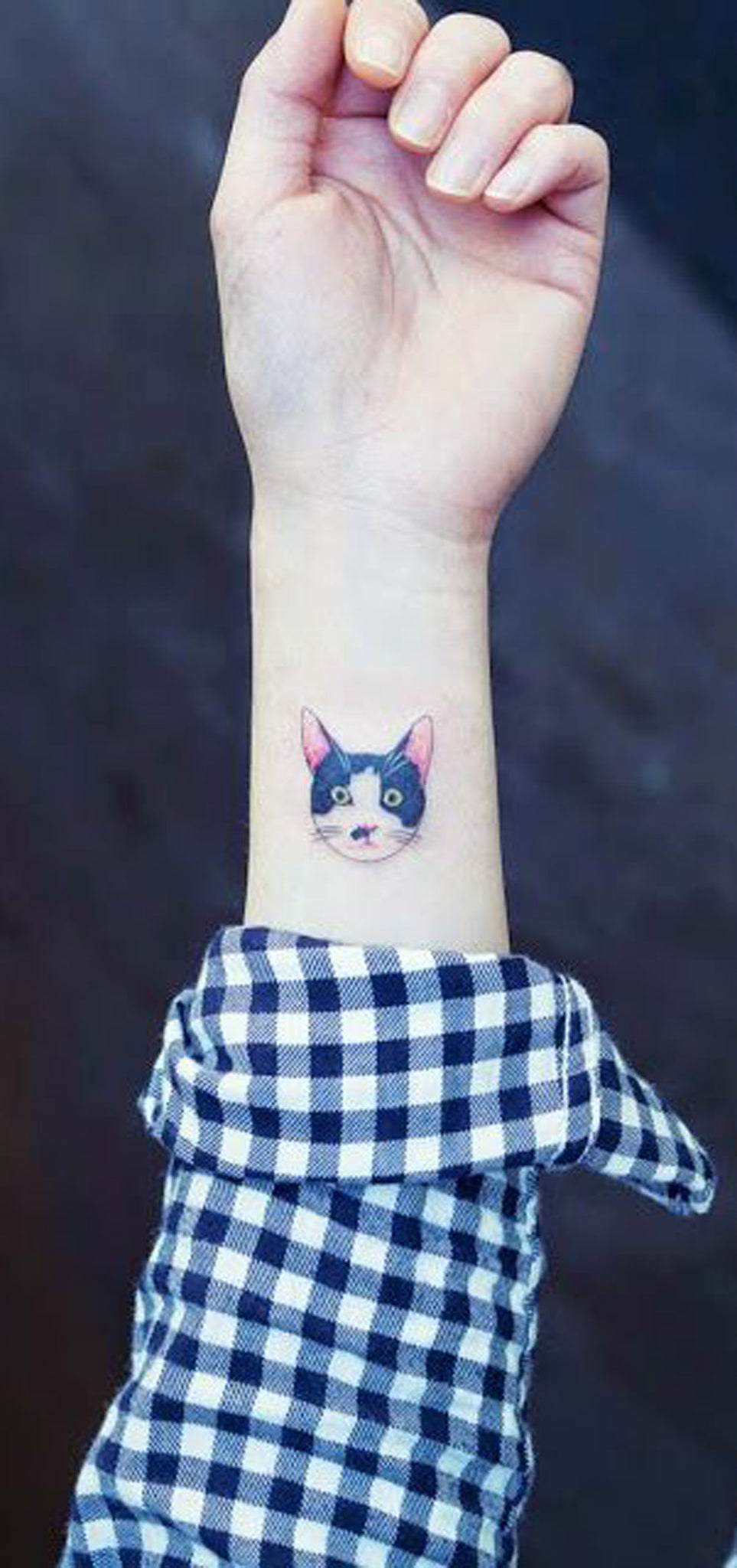 Realistic Traditional Black and White Wrist Tattoo Ideas for Women - Cute Kitty Inner Arm Tat - www.MyBodiArt.com