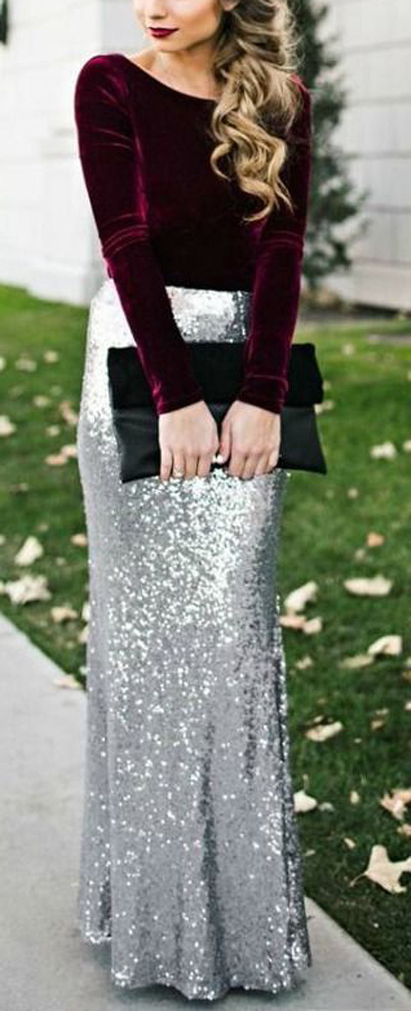 Fancy Christmas Outfit Ideas - Velvet Long Sleeve Shirt - Sparkly Silver Sequin Maxi Dress Skirt - MyBodiArt.com