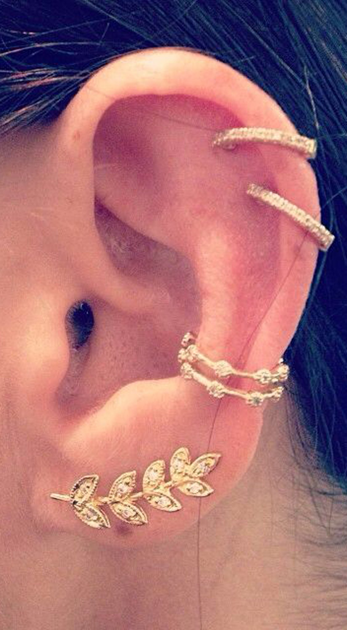 Different Ear Piercing Ideas at MyBodiArt.com - Gold Helix Jewelry Hoop - Single Cartilage Ring -  Leaf Earring