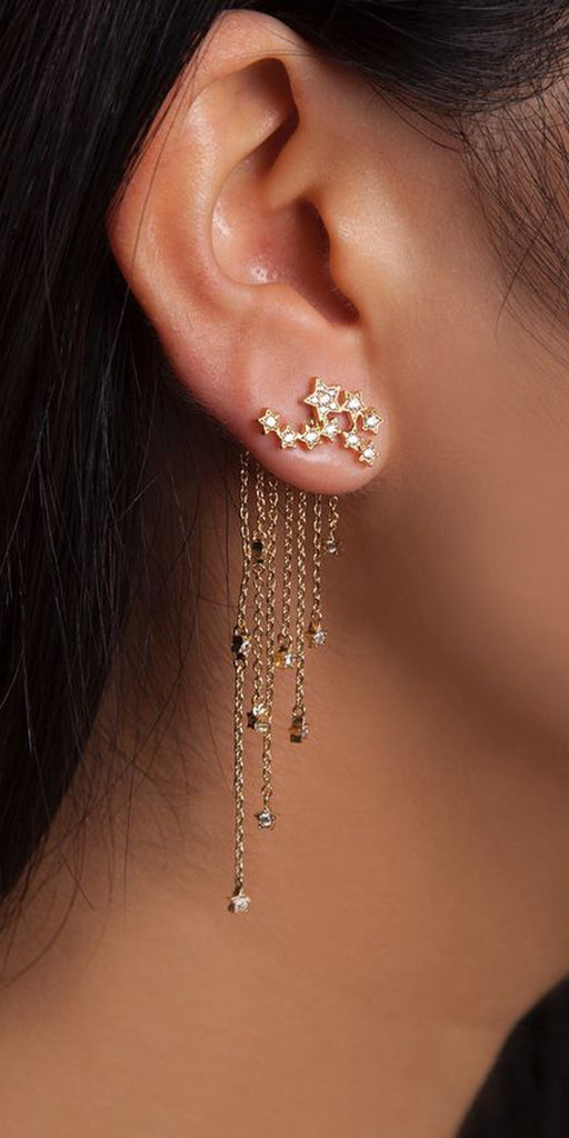 Gold Stars Ear Piercing Ideas - Ear Jacket - MyBodiArt.com