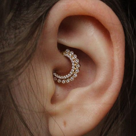 Daith Piercing Jewelry Ideas at MyBodiArt with Crystal Fan 16G Clicker