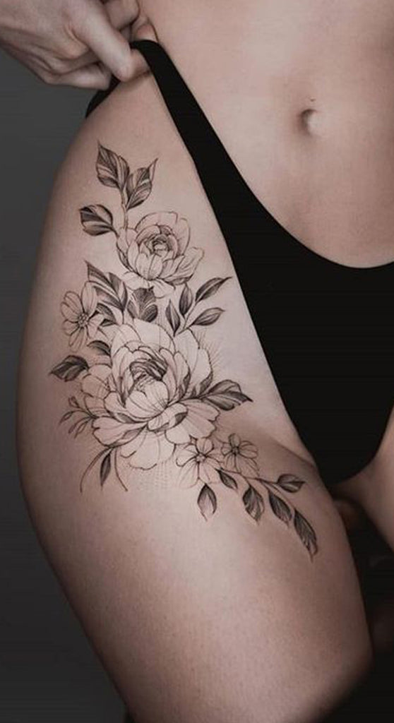 Delicate Vintage Rose Thigh Tattoo Ideas for Women Traditional Unique Floral Flower Leg Tat - www.MyBodiArt.com #tattoos