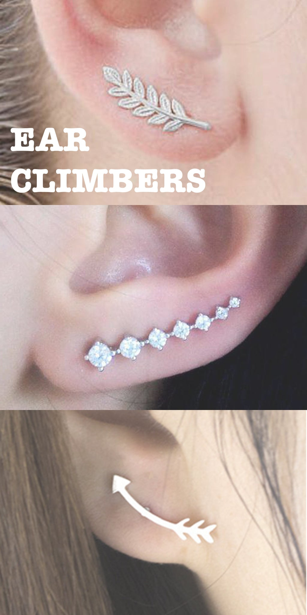 Celebrity Ear Piercing Ideas at MyBodiArt.com - Cool Ear Climber Earrings - Arrow Leaf Crystal