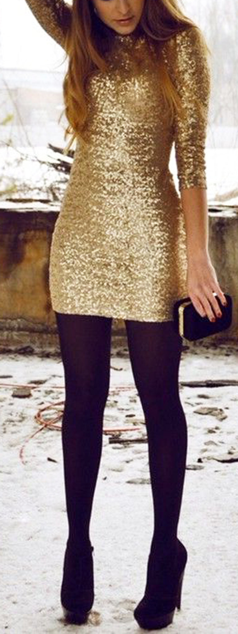 New Years Party Outfit Gold Dress Ideas - Black Stockings - MyBodiArt.com