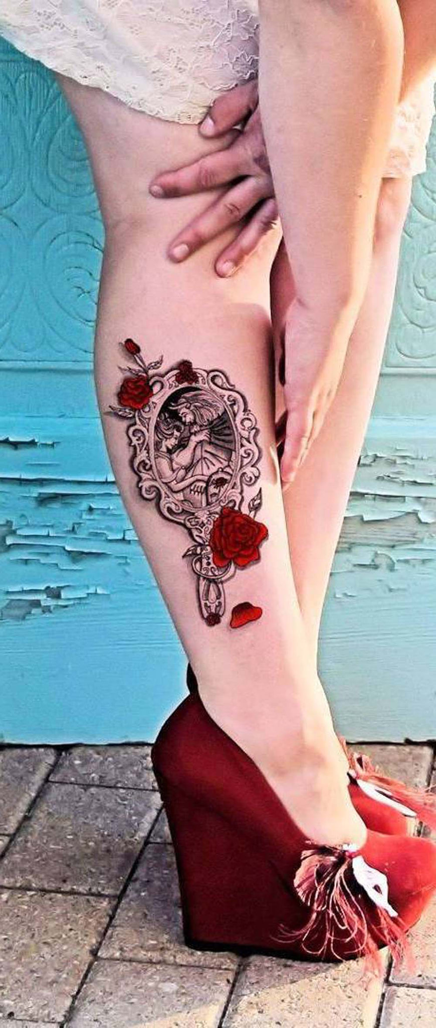 Beauty and the Beast Mirror Rose Calf Leg Tattoo Ideas for Women -  ideas de tatuaje de flor de becerro de ternera - www.MyBodiArt.com