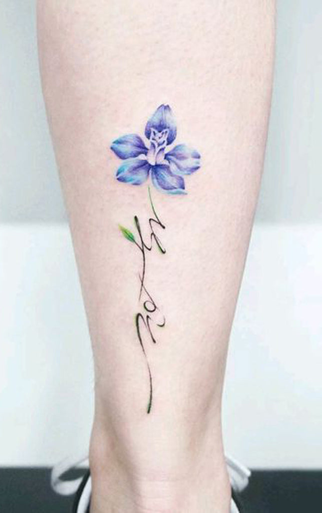 Blue Watercolor Floral Flower Script Quote Leg Tattoo Ideas for Women -  Ideas de tatuaje de flores para mujeres -  www.MyBodiArt.com