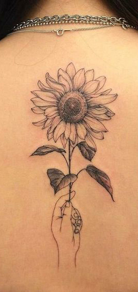 Small Black Sunflower Back Tattoo Ideas for Women - Cute Realistic Flower Spine Tat -  ideas realistas del tatuaje de la parte posterior del girasol para las mujeres - www.MyBodiArt.com
