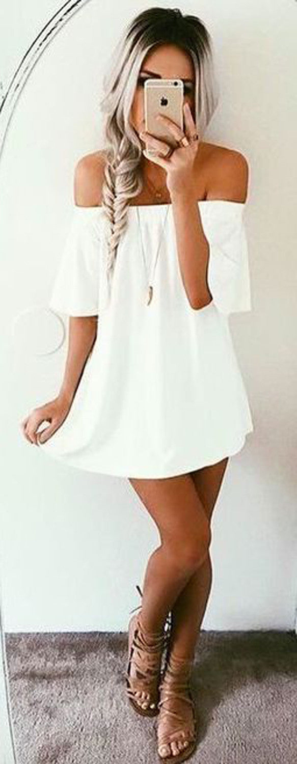 Womens Cute Outfits for Summer or Spring 2017 - Trending White Off the Shoulder Dress - Fishtail Blonde Hair Braid - MyBodiArt.com