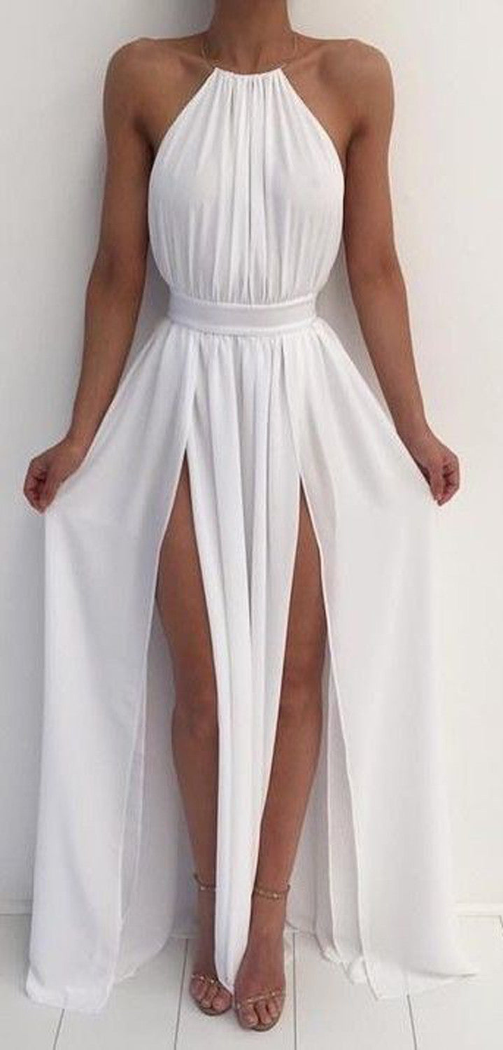 Halter Prom Dress Long Maxi White Greek Roman Outfit Ideas - MyBodiArt.com
