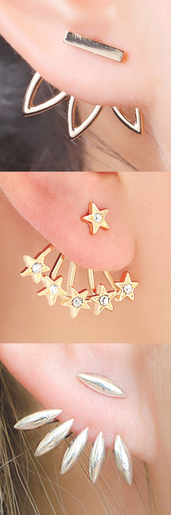 Celebrity Ear Piercing Ideas that are SOO Unique - Ear Jacket Earrings at MyBodiArt.com