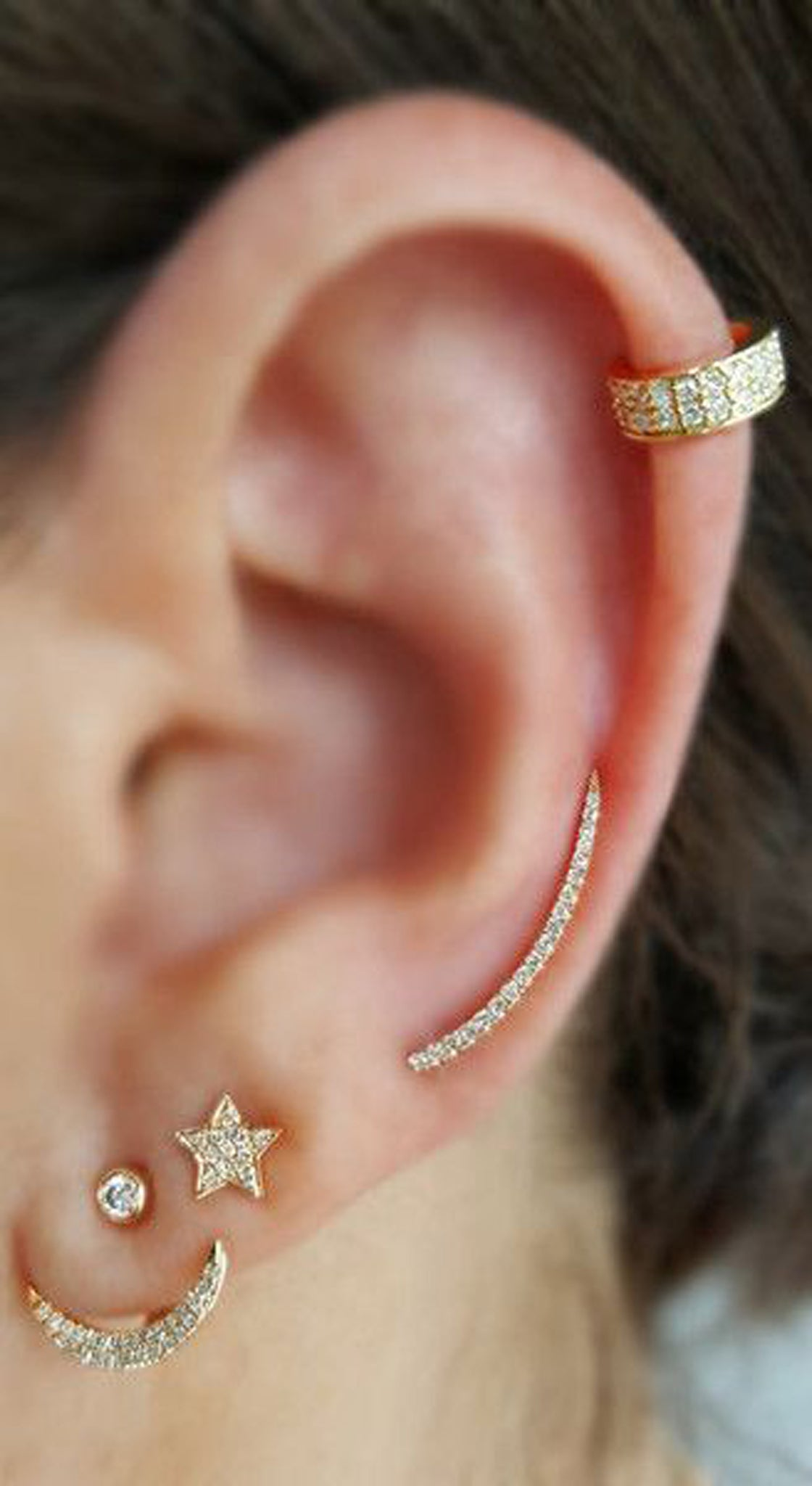 Classy Gold Ear Piercing Jewelry Ideas Combinations at MyBodiArt.com - Single Cartilage Crystal Ring - Ear Climber Earring -  Star Crescent Moon