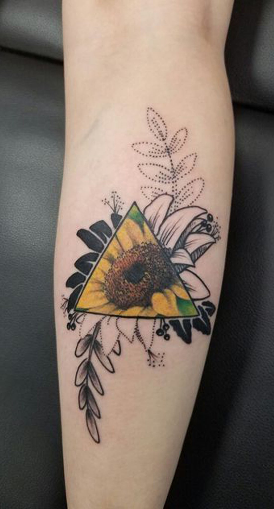 Geometric Unique Sunflower Forearm Tattoo Ideas for Women - Black White Colorful Cool Flower Arm Tattoo - www.MyBodiArt.com #tattoos