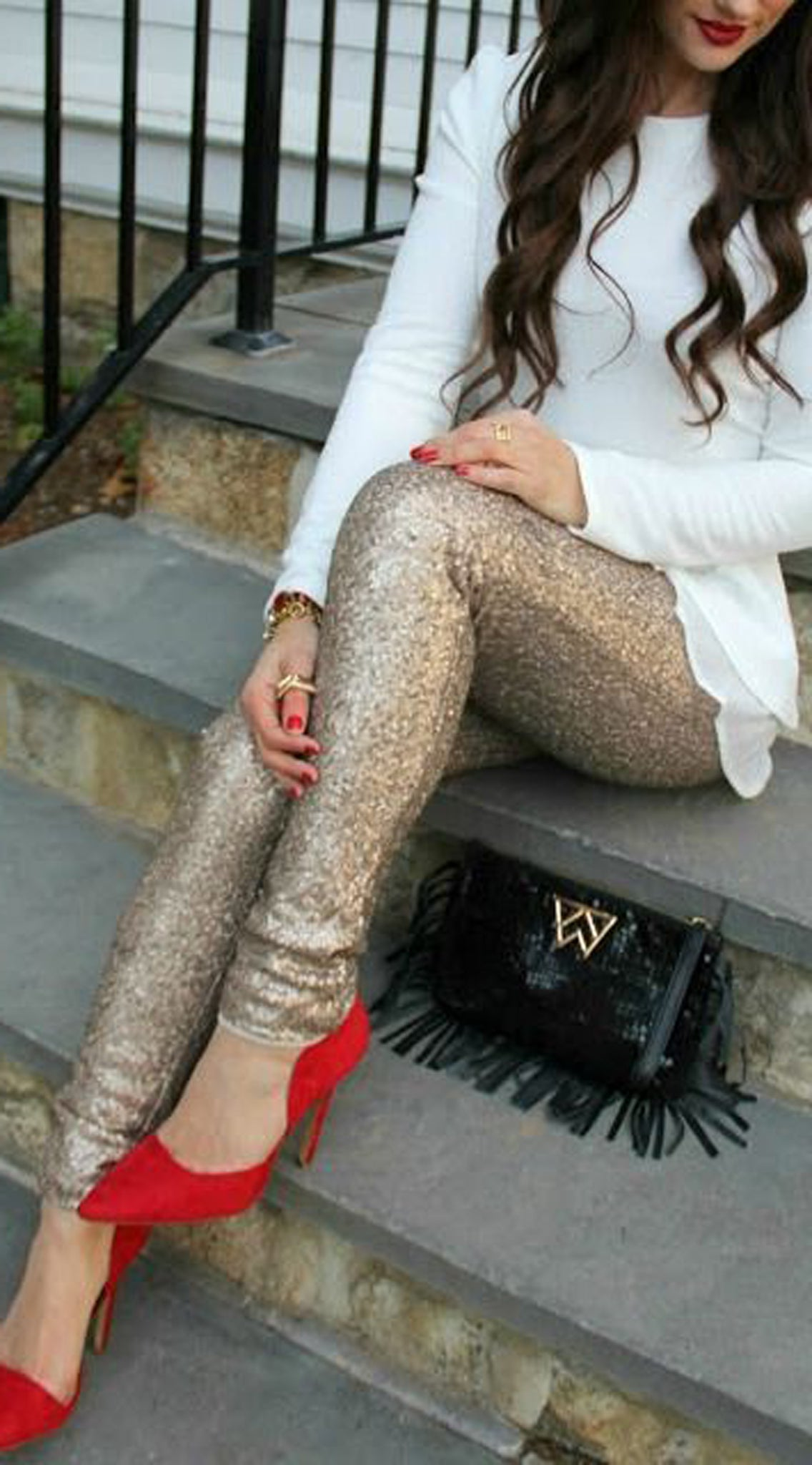Cute Outfit Ideas for Christmas Party New Years Eve - Sparkly Gold Sequin Pants - Long White Tunic - Red High Heels - MyBodiArt.com