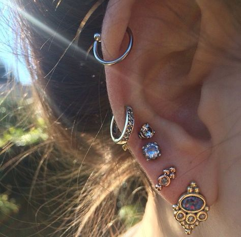 Ear Piercings Ideas at MyBodiArt - Helix Piercing, Snug Earring, Lobe Earrings