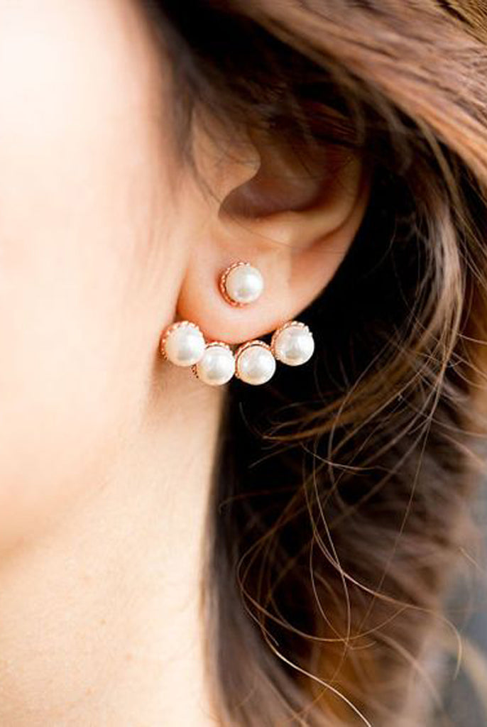 Pearl Drop Elegant Earrings - Starburst Ear Jacket - MyBodiArt.com