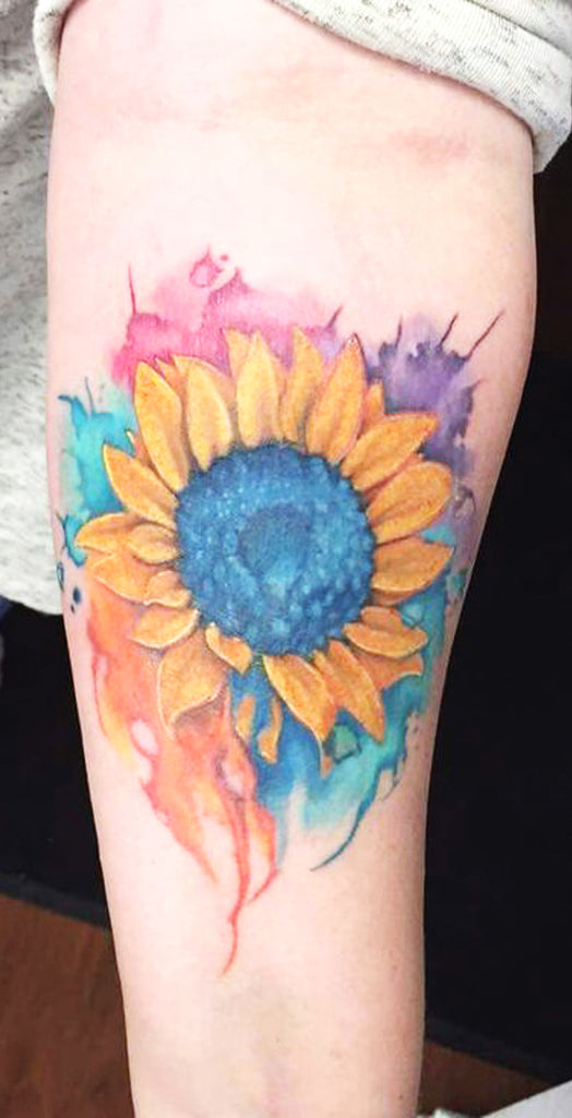Beautiful Watercolor Sunflower Forearm Tattoo Rainbow Flower Arm Tat for Women -  tatuaje hermoso del antebrazo del girasol de la acuarela - www.MyBodiArt.com