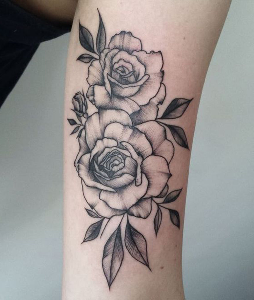 Bunch of Roses Outline Arm Tattoo Ideas for Women - www.MyBodiArt.com