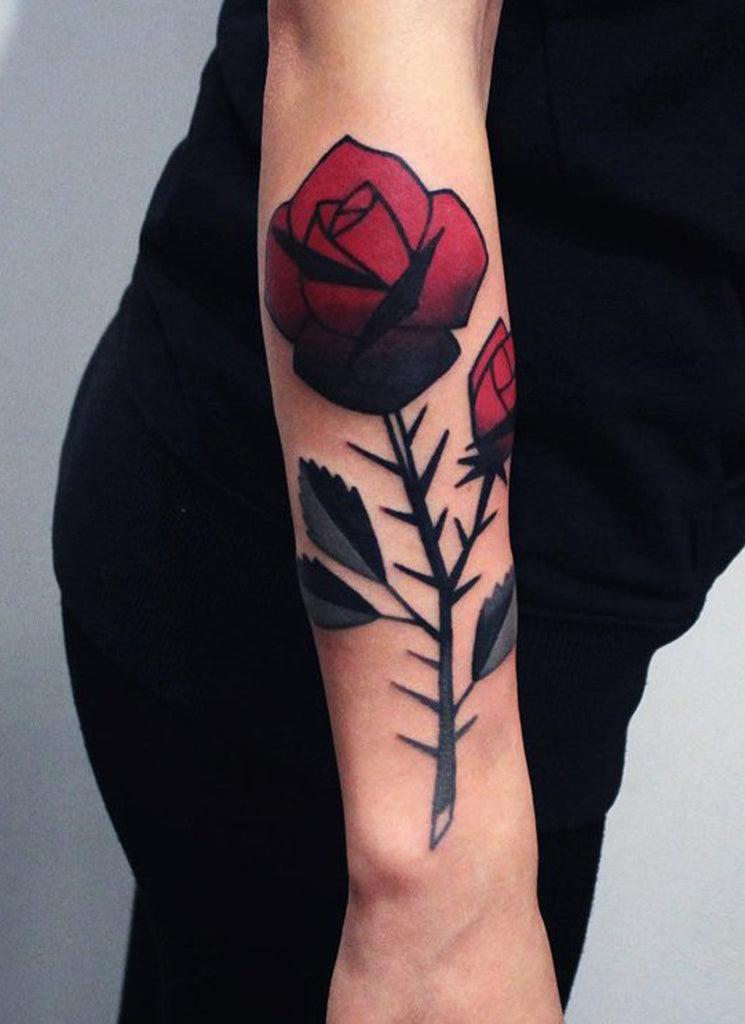 Vibrant Rose Flower Arm Tattoo for Women - MyBodiArt.com