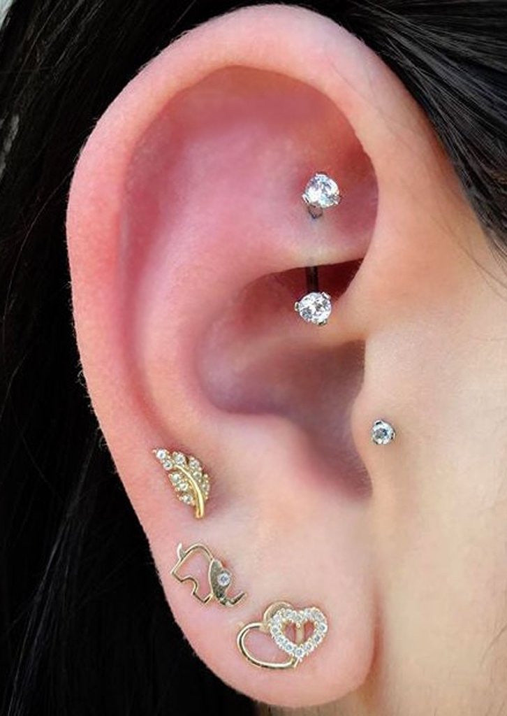 Dainty Ear Piercing Ideas at MyBodiArt.com - Rook Daith 16G Barbell Earring