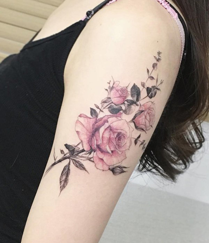 Vintage Watercolor Fleur Flower Arm Sleeve Tattoo - MyBodiArt.com
