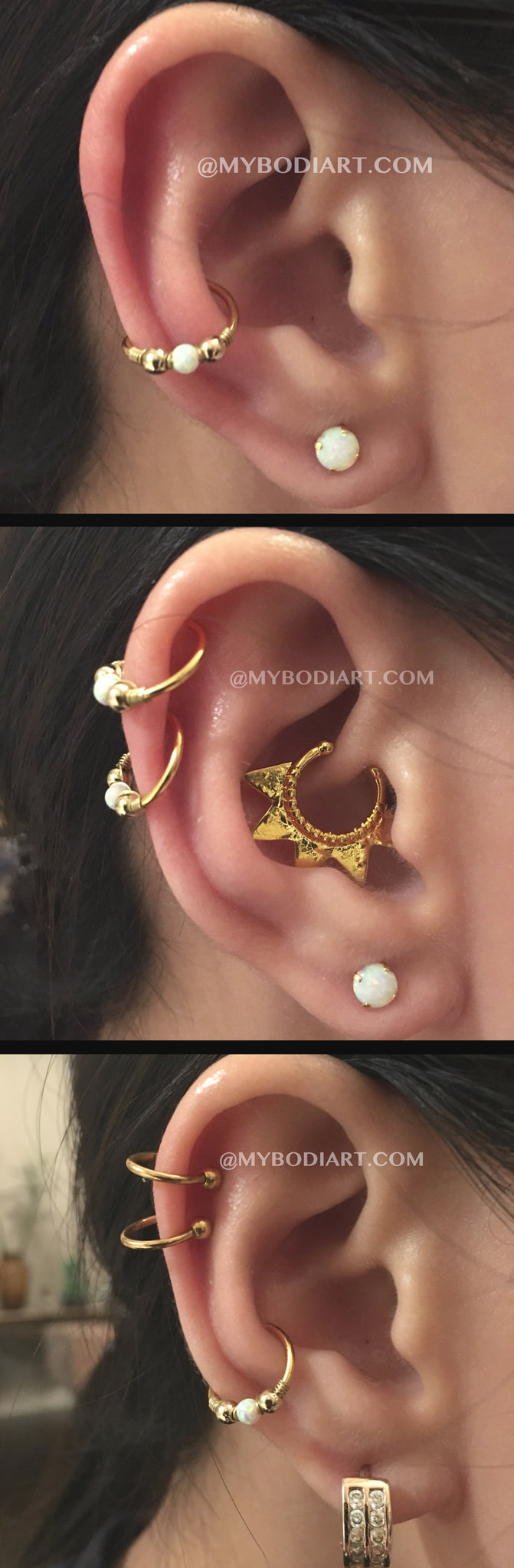 Cute Gold Ear Piercing Ideas for Teenagers - ideas para perforar orejas - cartilage conch daith rook ear lobe helix tragus earring ring hoop stud jewelry jewellery - www.MyBodiArt.com