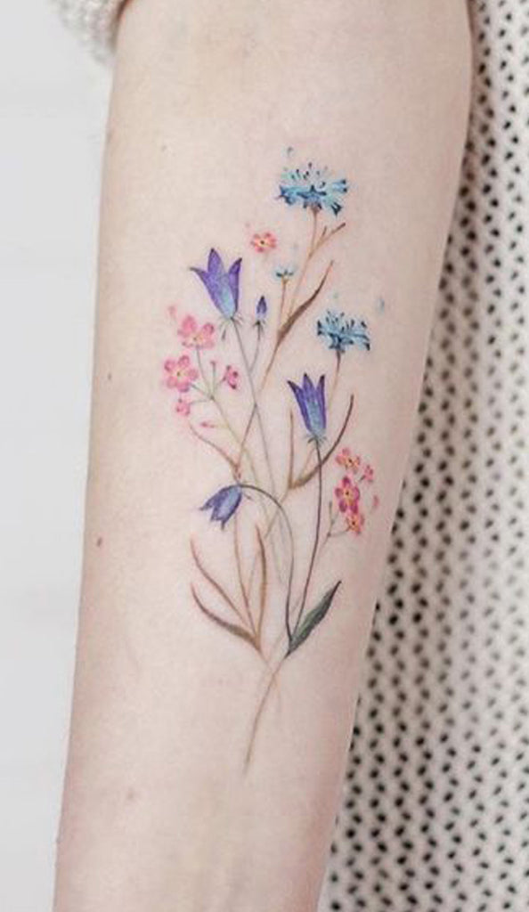 Watercolor Blue Wild Floral Flower Wrist Tattoo Ideas for Women -  Acuarela floral flor antebrazo tatuaje ideas para mujeres- www.MyBodiArt.com