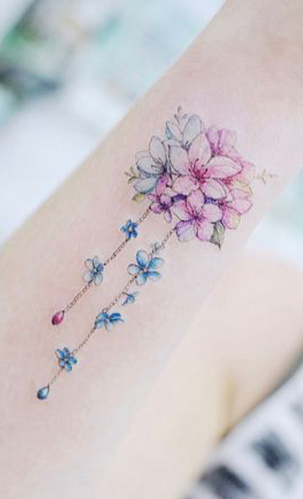 Cute Watercolor Bouquet of Flowers Arm Tattoo Ideas for Women - www.MyBodiArt.com