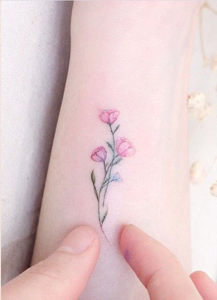 Watercolor Pink Small Delicate Floral Flower Wrist Tattoo Ideas for Women - www.MyBodiArt.com