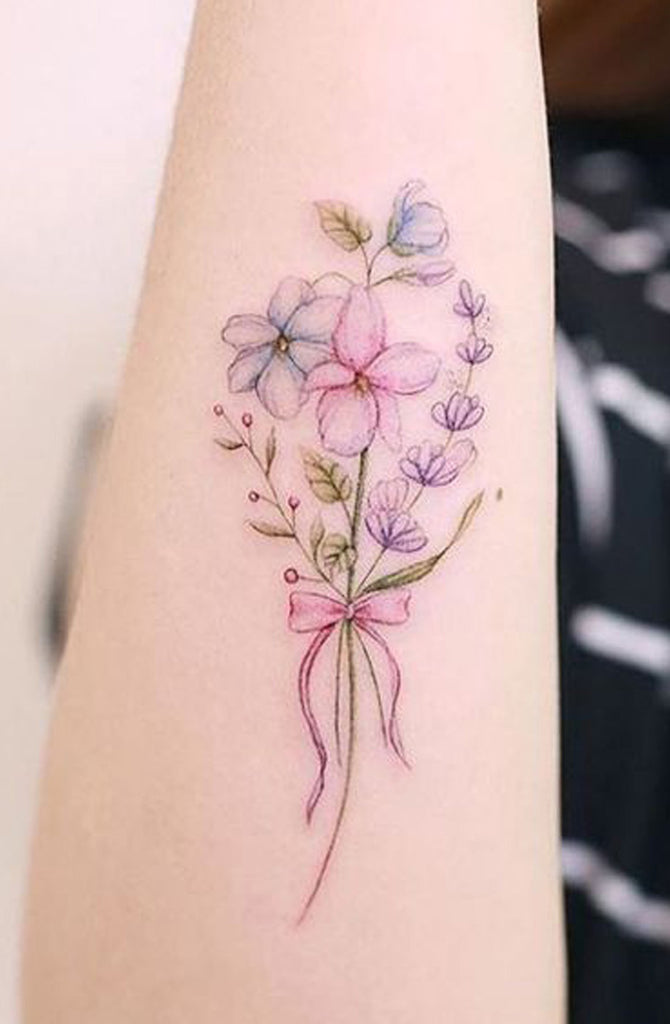 Watercolor Bouquet of Flowers Pink Arm Tattoo Ideas for Women -  bonitas ideas de tatuaje de brazo de flor de acuarela - www.MyBodiArt.com