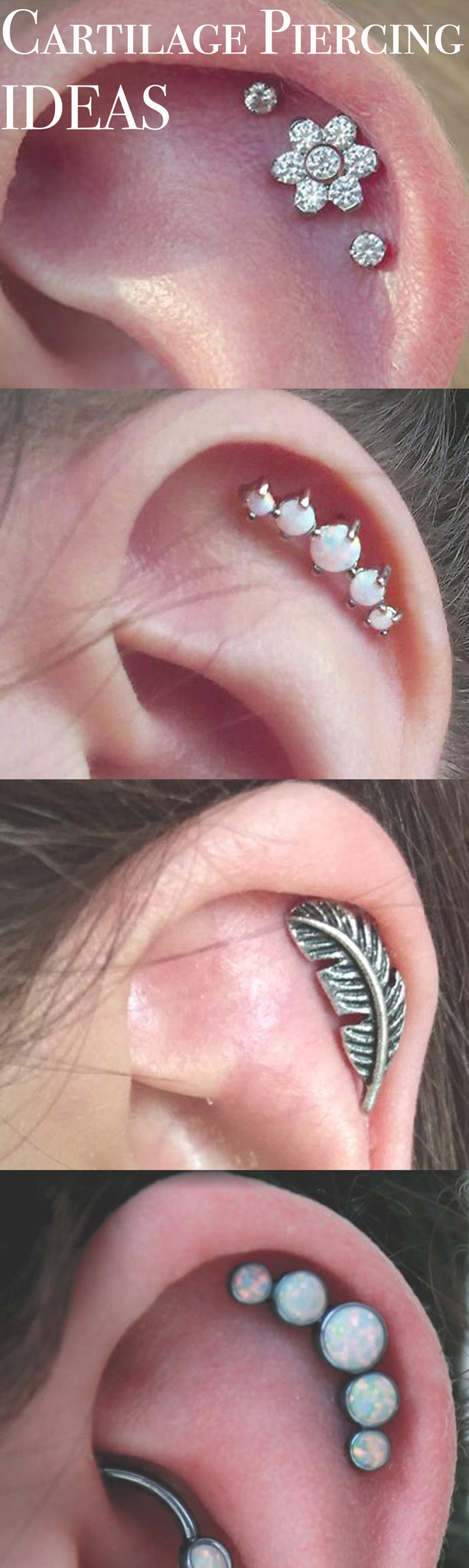 Ear Piercing Ideas for Cartilage - One Double Opal Gold Hoops Ring - Leaf Jewelry - Flower Stud - MyBodiArt.com
