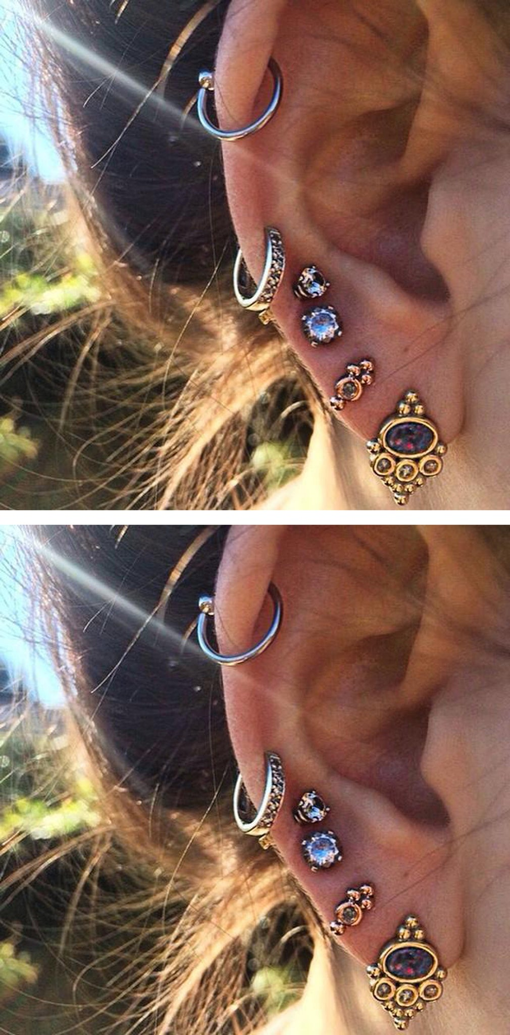 Badass Multiple Ear Piercing Ideas for Cartilage, Top Ear - Cute & Popular ideas para perforar orejas - www.MyBodiArt.com