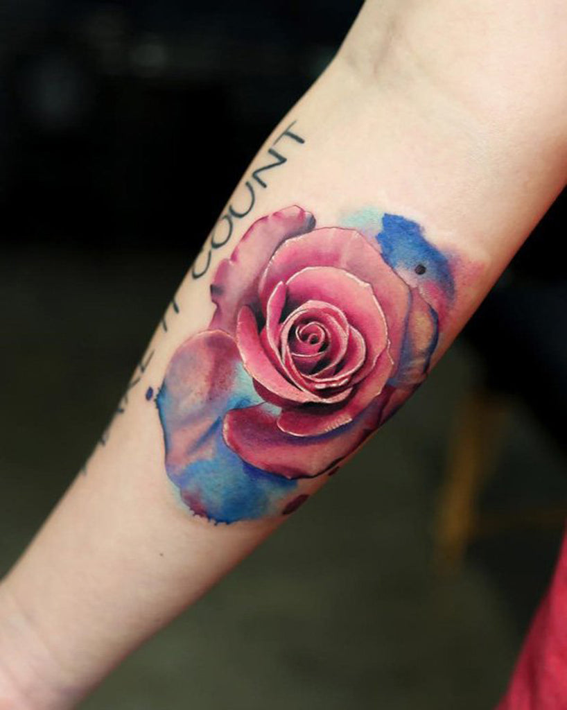 Watercolor Abstract Rose Tattoo - MyBodiArt.com