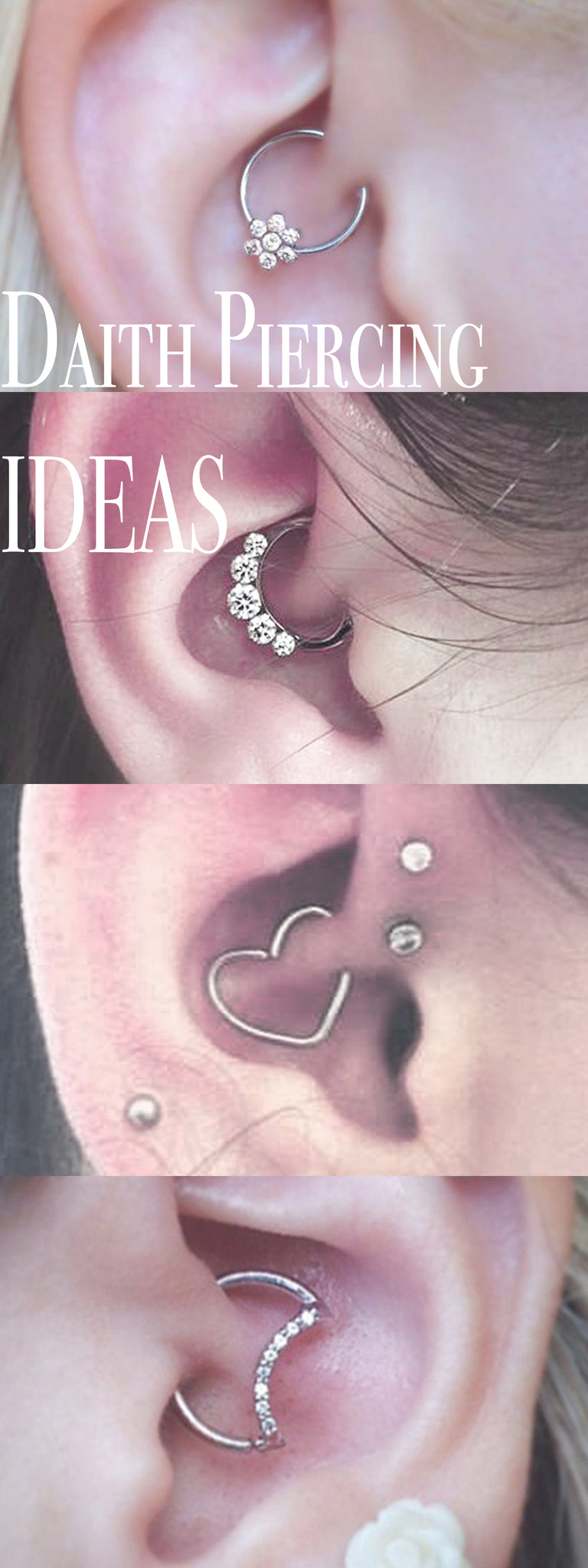 Cute Ear Piercing Ideas Heart Daith Earring Moon Rook Hoop Silver Crystal Flower Clicker Ring - MyBodiArt.com
