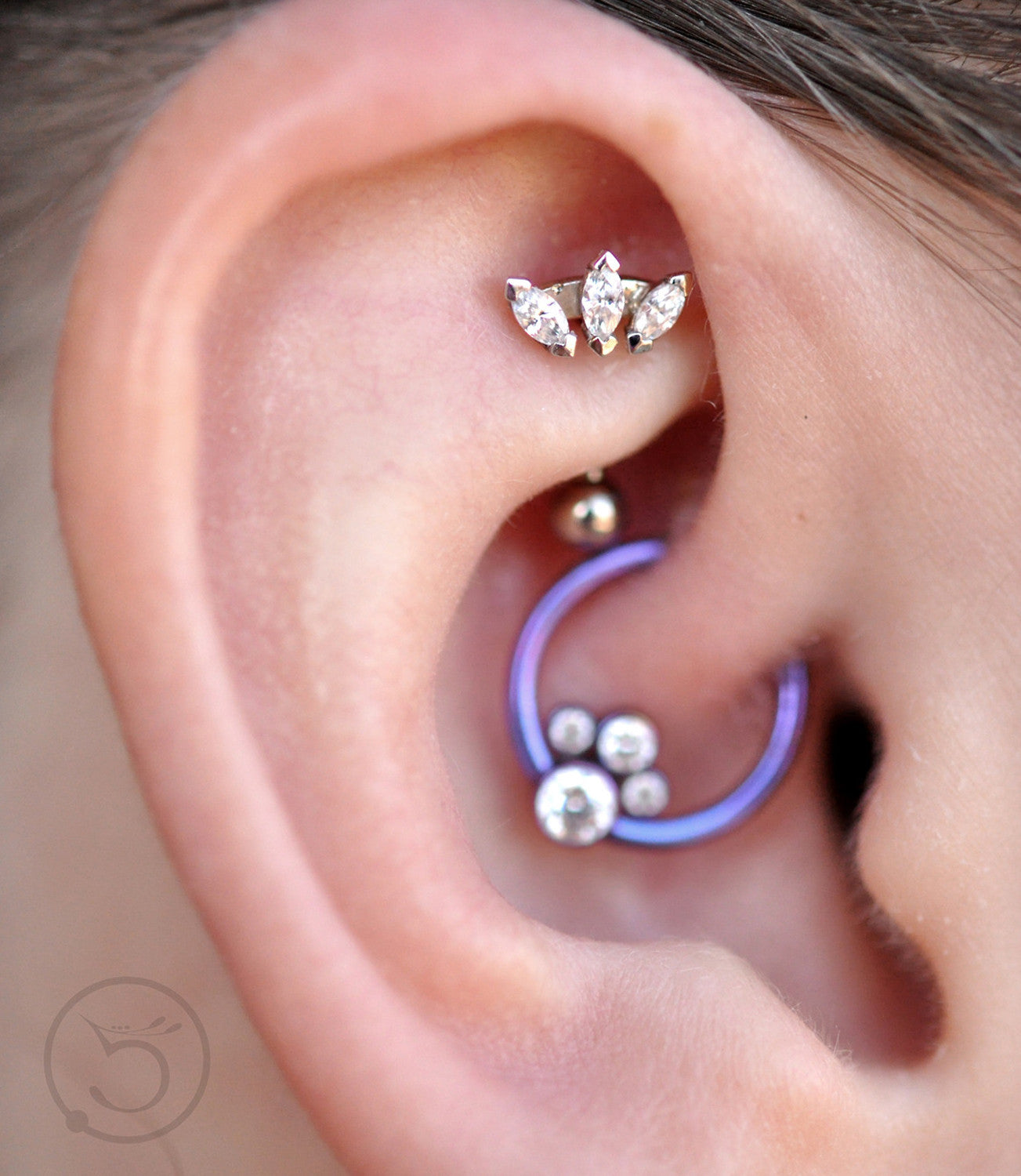 Cute Ear Piercing Ideas at MyBodiArt.com - Crystal Rook Barbell & Purple Hoop Daith Ring