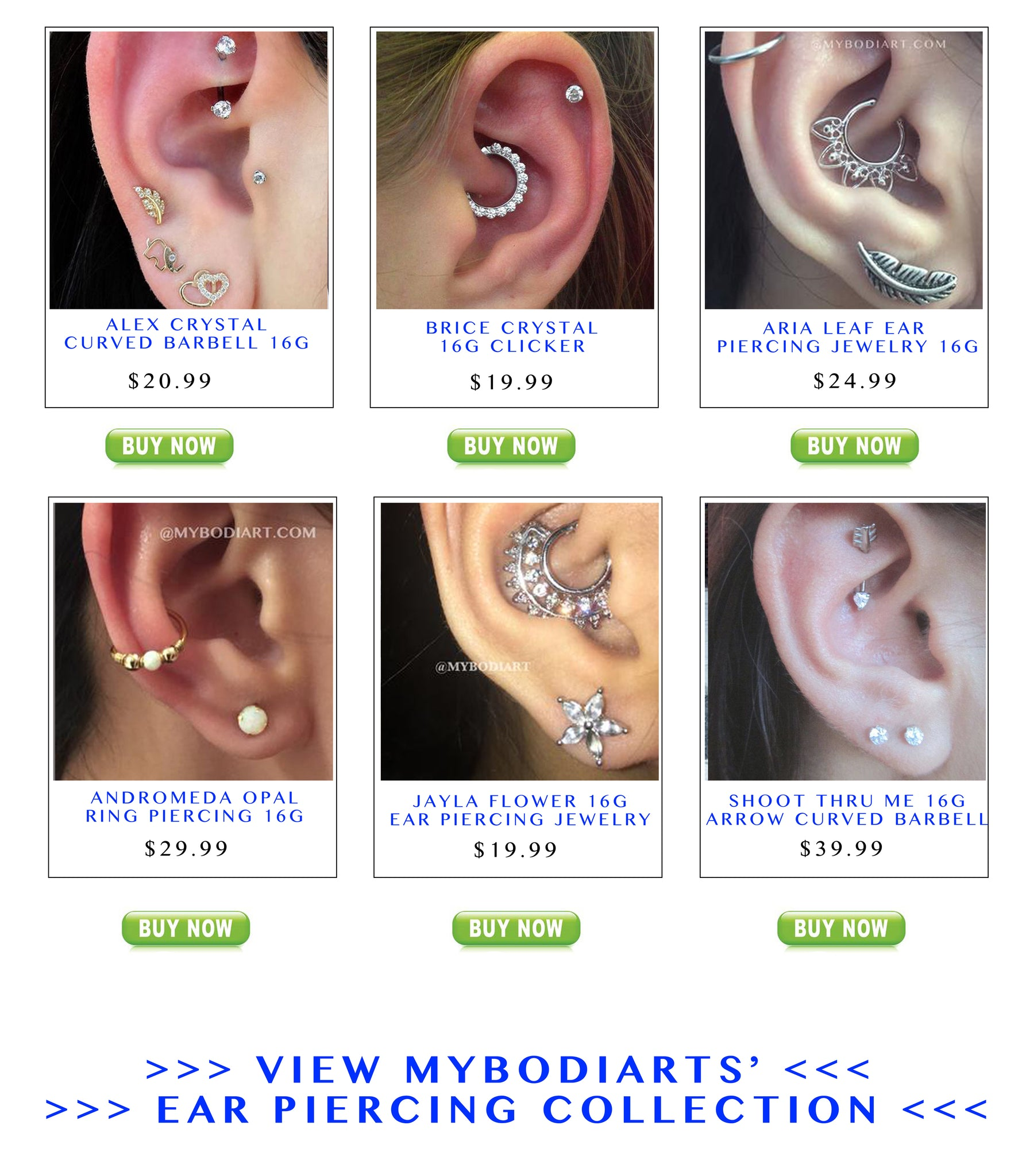 Trending Ear Piercing Jewelry at MyBodiArt.com