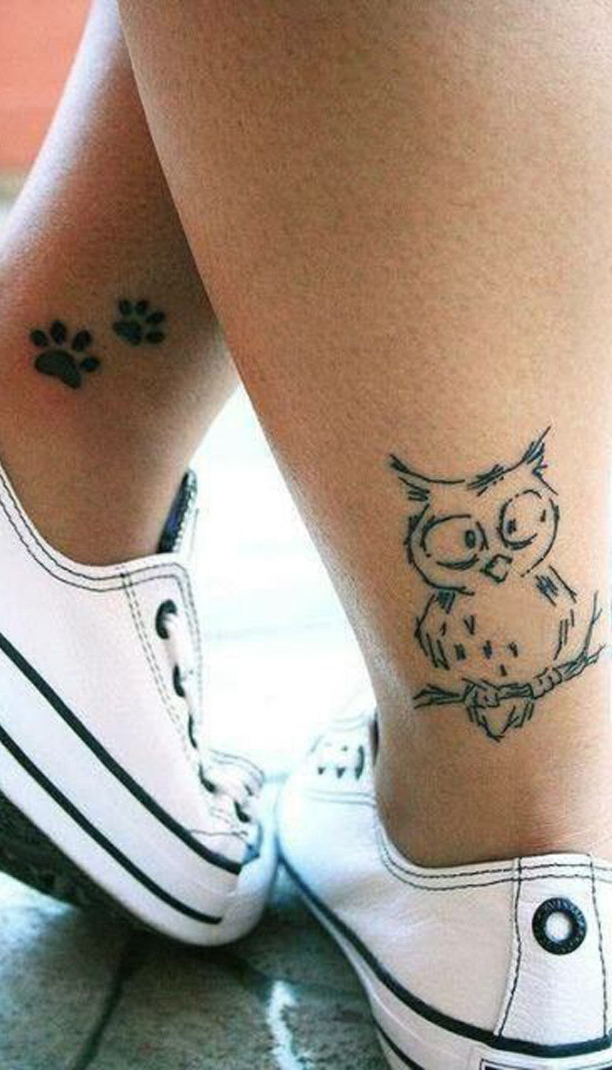 Cute Small Owl Leg Tattoo Ideas - Dog Paw Prints Ankle Tats - MyBodiArt.com