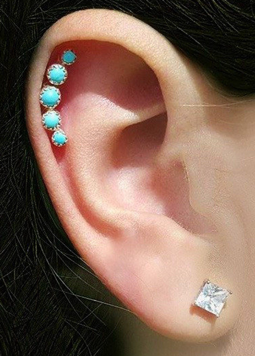 Gorgeous 6 Stone Turquoise Cartilage Piercing Earrings Jewelry at MyBodiArt.com