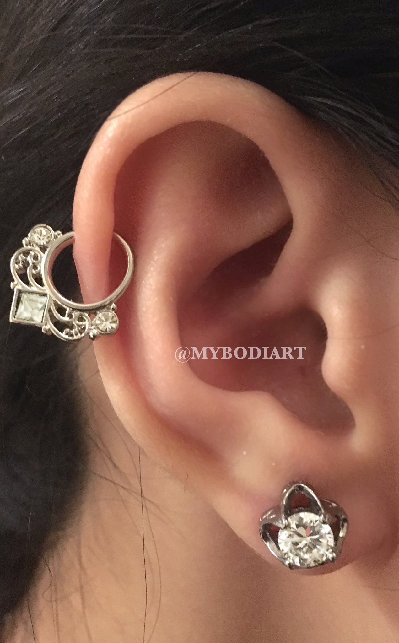 Cartilage Ear Piercing Ideas - Silver Ring Hoop Crystal Lobe Earring Stud - www.MyBodiArt.com