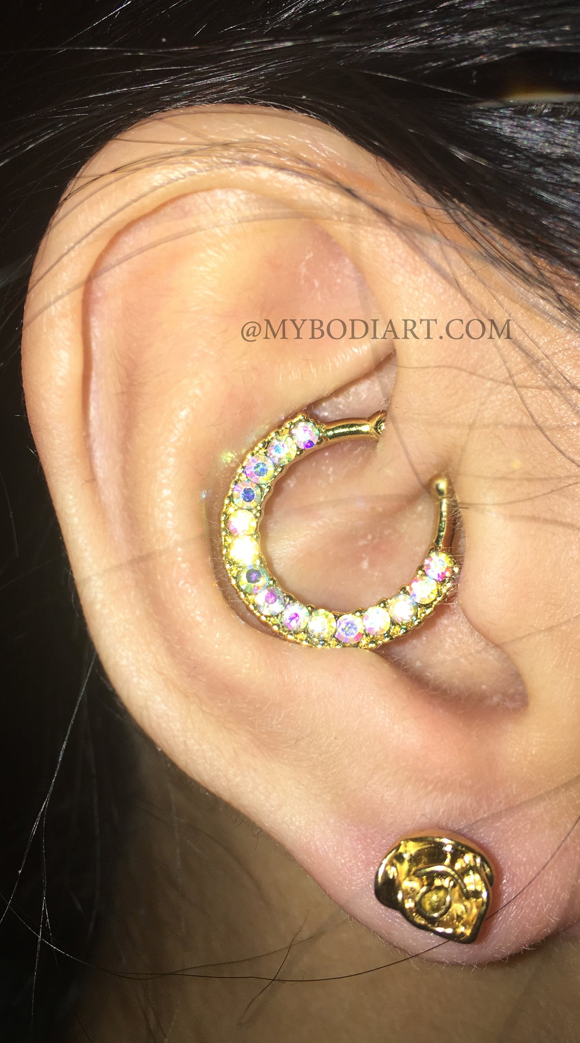 Popular Teenager Ear Piercing Ideas - Gold Daith Ring Hoop Earring - Rose Ear Lobe Stud - at MyBodiArt.com